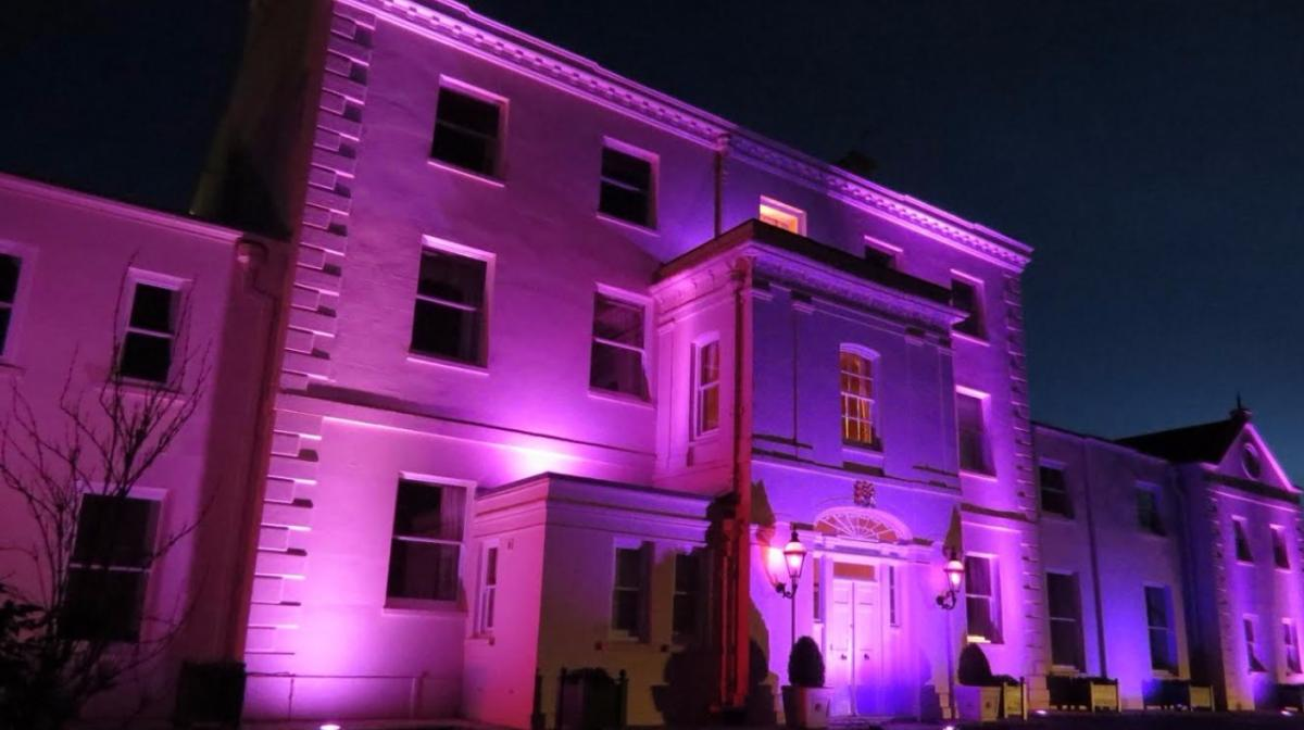 Crocus Planting  - Lights turn the Lt Governor's residence purple