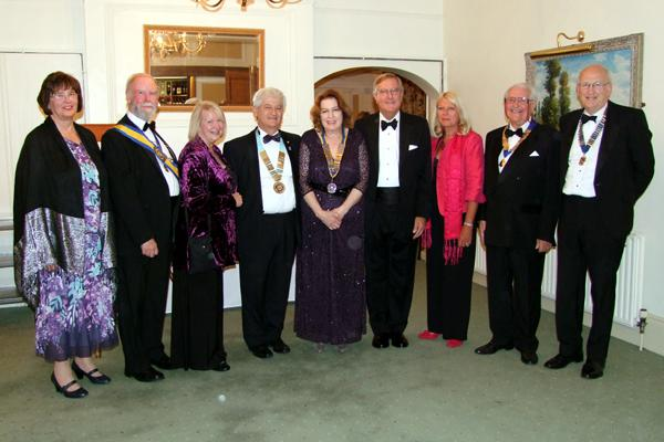 39th Annual Charter Anniversary Dinner - President Rose Dobbs pictured, centre, with her top table guests from left: Mrs Margaret Harrison, Rotarian David Bennett, Rotarian Jackie Kalson, District Governor Simon Kalson, speaker Judge Michael Jefferis, Mrs Giselle Jefferis, President of Horncastl