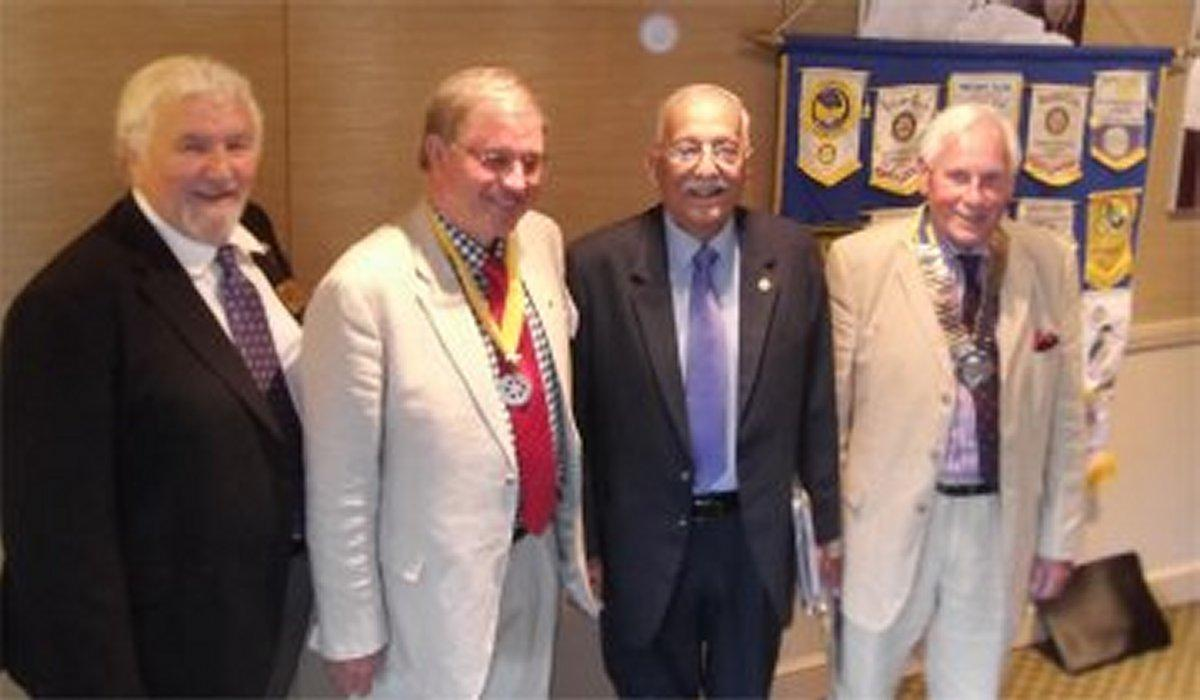 Visit by Rotarian from India - ADG Mike Griffin with Col (Retd) V K Kapoor of RC Khadki in Pune, India, President John Metcalfe with immediate past President David Fincham