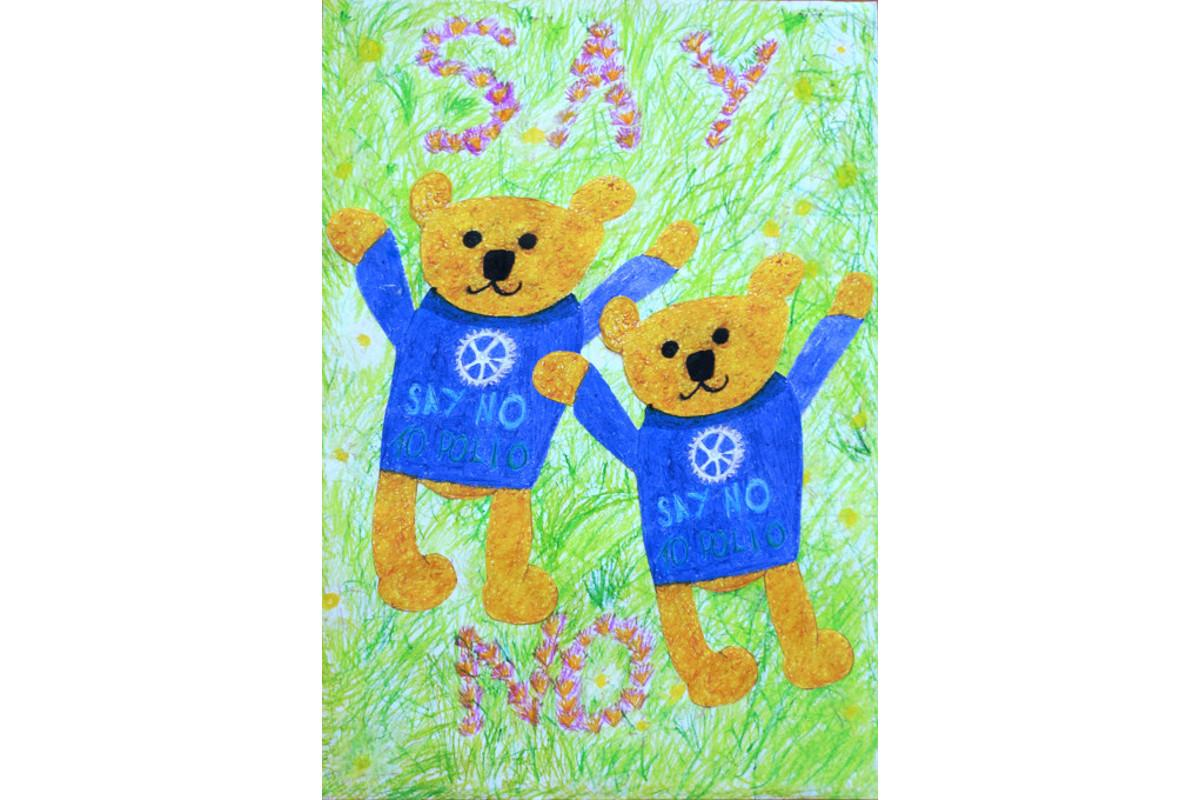 Winners of the Purple4Polio Art Award  - by Lilee Camp & Emily Pike, age 9, Brookside Primary School