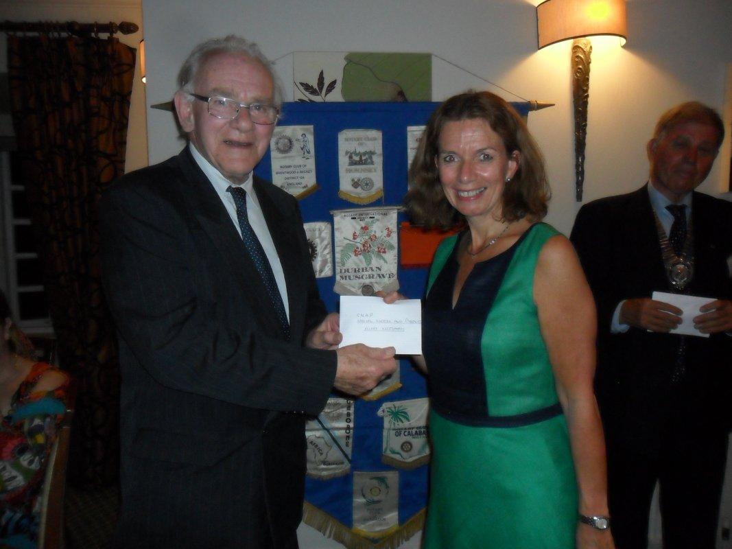 Cheque Presentation Dinner - 15th Sept 2016 - Hilary Needham from S.N.A.P. receives their cheque