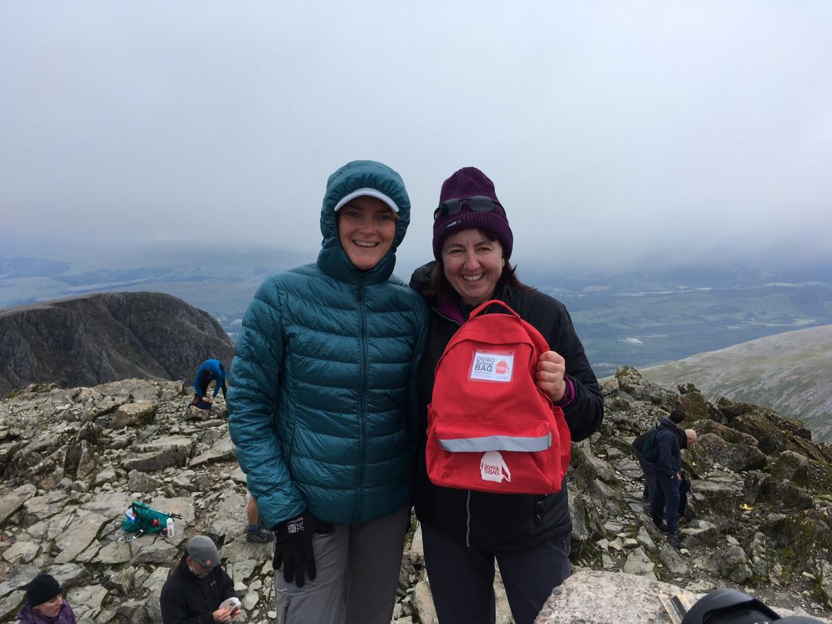 Fund Raising - School in a Bag 3 Peaks challenge, photo taken at the summit of Ben Nevis 1st day. They then walked up Scafell Pike and Snowdon, the 3 highest peaks in the uk over 3 days raising £2450 for School in a Bag.