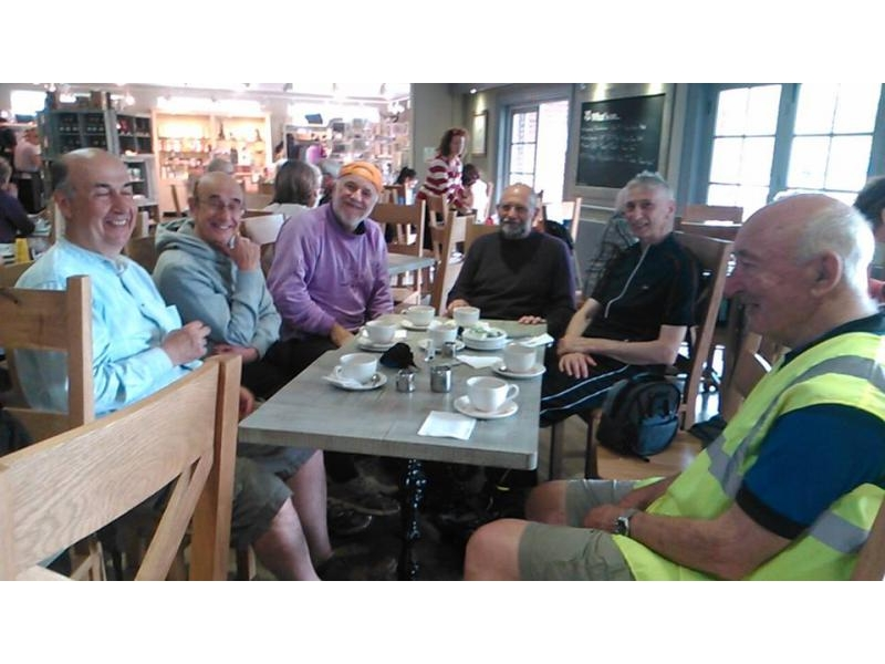 The TuT cyclists in typical fashion! - Alper, Brian,Peter, Jack, John and Jim enjoying their coffee break. Snapped by fellow-cyclist Margaret.