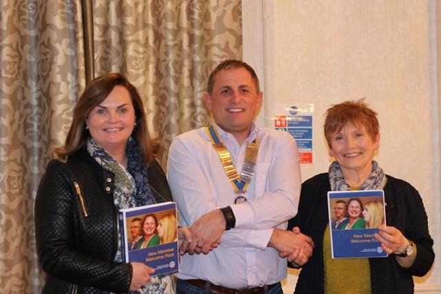 Latest News  - President Ged welcoming new members Lisa & Yvonne