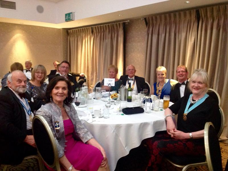 Joint Presidents Night - President Bob & Linda Twist, President Carole & Clive Pritchard, DG Jean Thompson, DGE Terry & Marion Long, PDG Les & Norma Fay