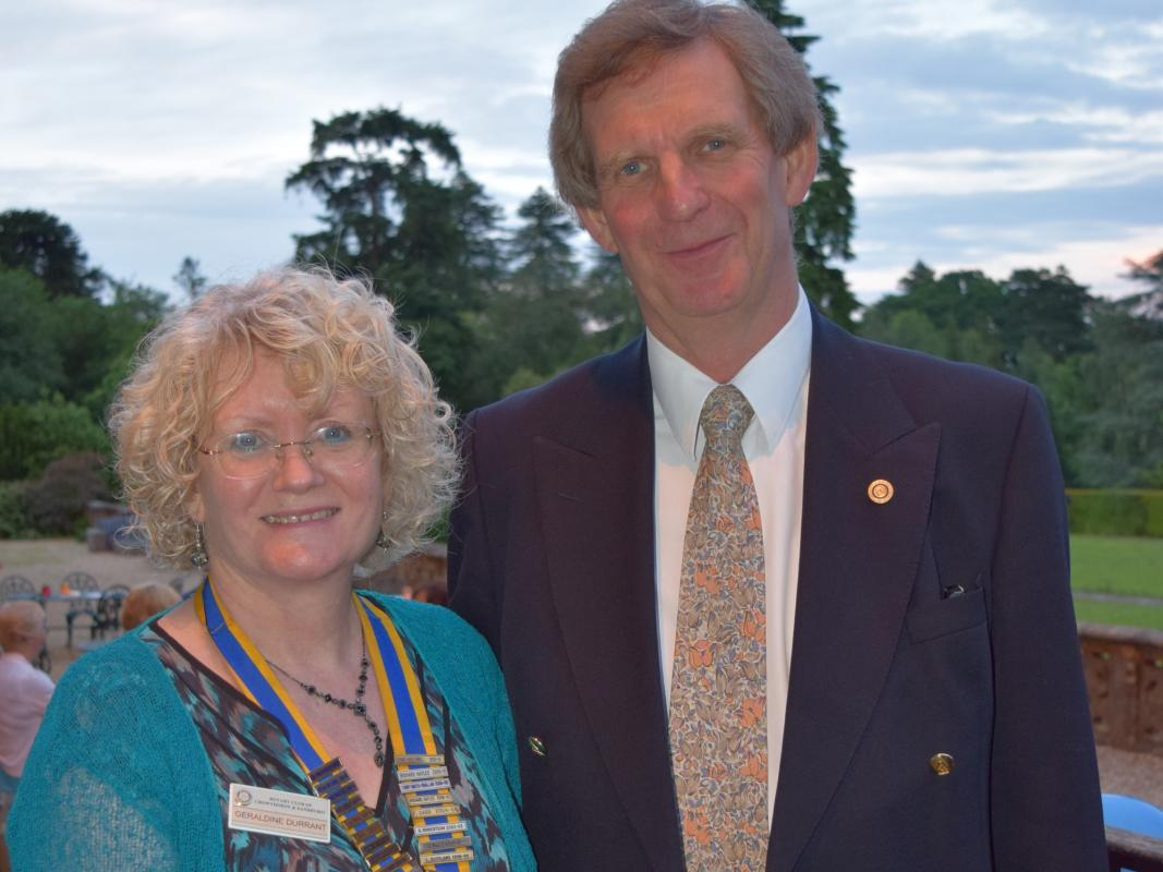 20th Anniversary Celebration & Presidential Handover in pictures - (Left) 2016/17 President, Geraldine Durrant, with Peter Morris, the first President of the Rotary Club of Crowthorne & Sandhurst