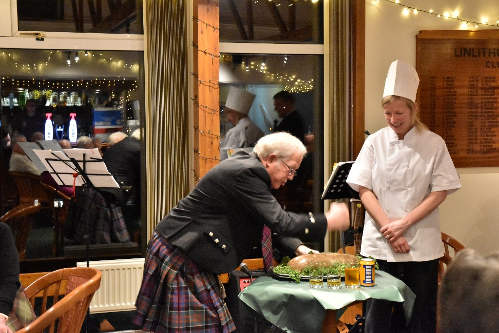 Scots Night 2017 - Chef Karen Macauley's excellent haggis is now '..a glorious sight, warm-reekin rich'.