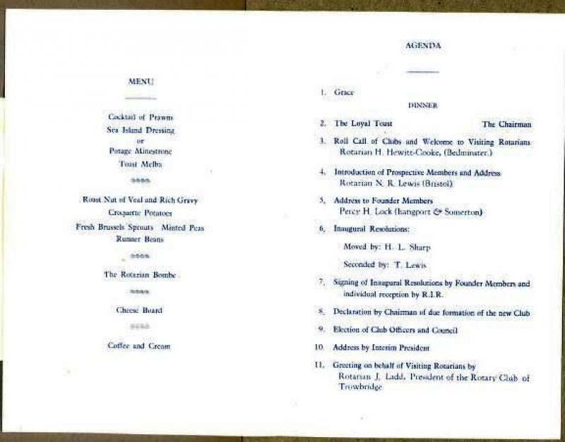 Melksham Rotary is 50 - Inaugural meeting menu