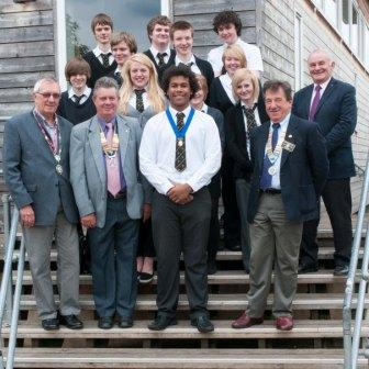 Newent Interact Club - The Mayor of Newent, Our Club President, and D.G. of District 1100 with the President and members of Newent Interact Club at their Inaugural Meeting.