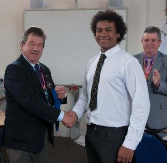 Newent Interact Club - D.G. Martin Congratulates the Founding President of Newent Interact Club on their Foundation