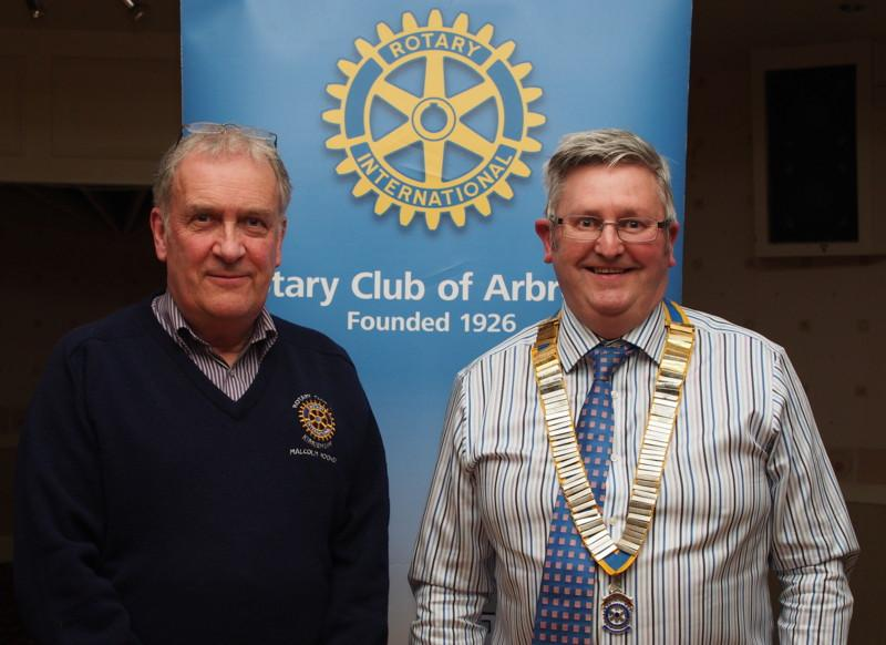 Club Photo Gallery July 2015 to June 2016 - Malcolm Rooney (Left) of Kirriemuir Rotary Club was a speaker in March.  He spoke about the need for Rotary to become involved in Climate Change management