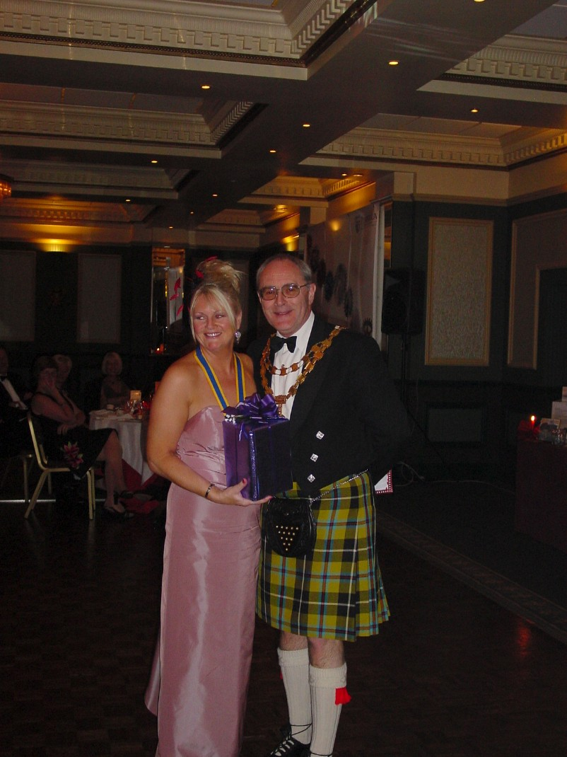President's Night, May, 2004, Duke of Cornwall - President Lesley with RIBI President Brian Stoyel.