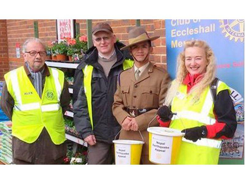Great response to Nepal Earthquake Appeal Collection 2nd May - Rotary Club members with Gurkha soldier from 248 Gurkha Signals Squadron 22 Signals Regiment