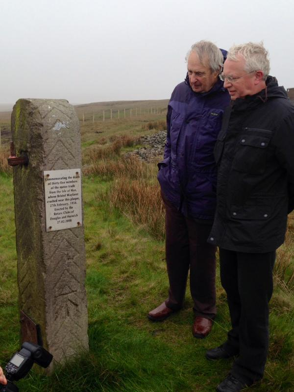 Visit to Horwich - Honorary Rotarian Bob Dowty and Rotarian Howard Callow at the 50th Anniversary plaque close to the crash site.