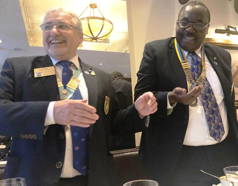 District Governor's visit on 19th September 2018 - President Juvenal and the DG sharing their joy with the meeting