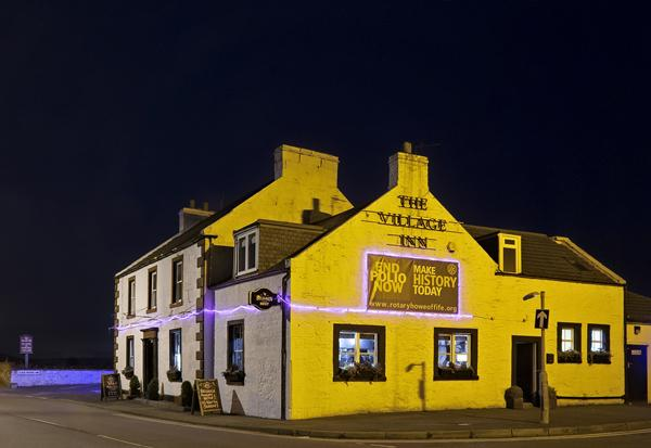 Purple4Polio: What to do in 2019-20 - Village Inn lit up
