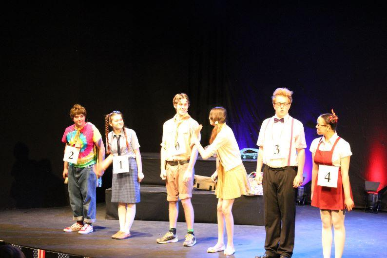 St Austell College Event - students acting the spelling bee