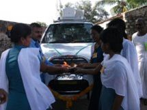 PRESENTATION OF AMBULANCE - Some of the nurses greeting their brand new ambulance