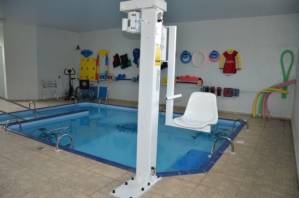 OUR WORK OVERSEAS - Hoist in a hydroptherapy pool in Cistais Paulista, in the District of Sao Paulo, Brazil, funded by the Rotary Club of Newcastle upon Tyne