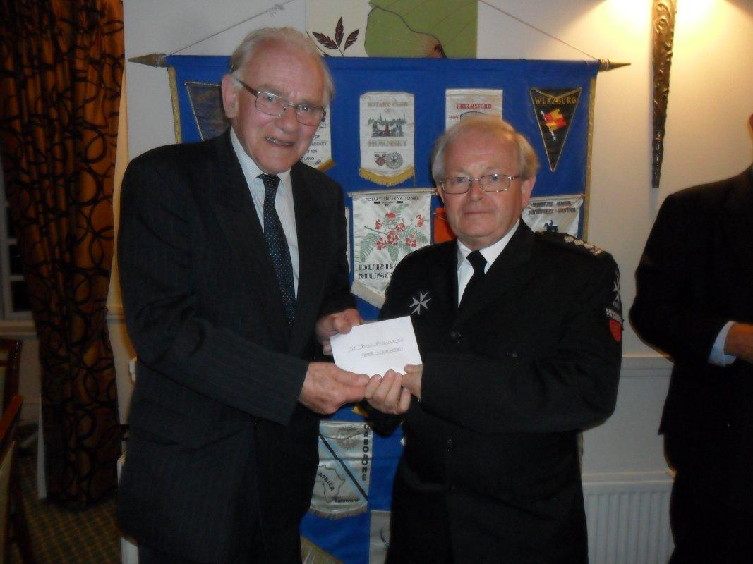 Cheque Presentation Dinner - 15th Sept 2016 - Peter Weathersby from St. John Ambulance receives their cheque