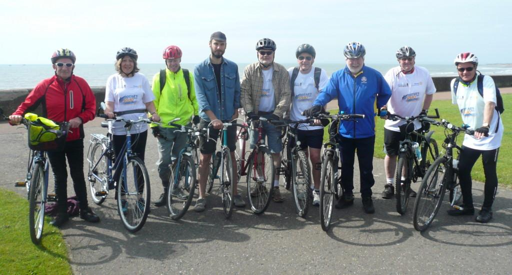 Club Photo Gallery July 2015 to June 2016 - Club Rotarians and others raised £365 to support Prostate Cancer Research by cycling to Monifieth and back in June 2016