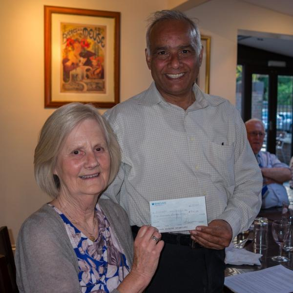 SOS!SEN Visit the Club - Club President Ravinder Sharma hands over £500 cheque,funds raised at our recent Piano Recital, to Jane Carmody from SOS!SEN.