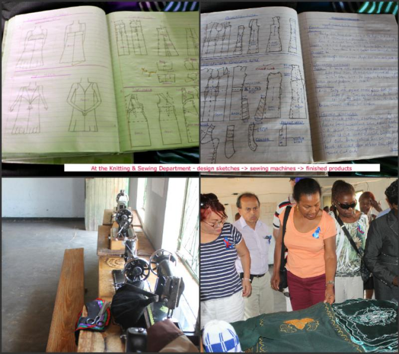 The Chikuku Youth Centre Project -  Zimbabwe - Rotarians were shown the designs in the design books and the sewing machines that were donated. The trainees handy work were on display.
