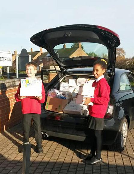 Rotary Shoebox Appeal - Carrying the shoeboxes to start their journey
