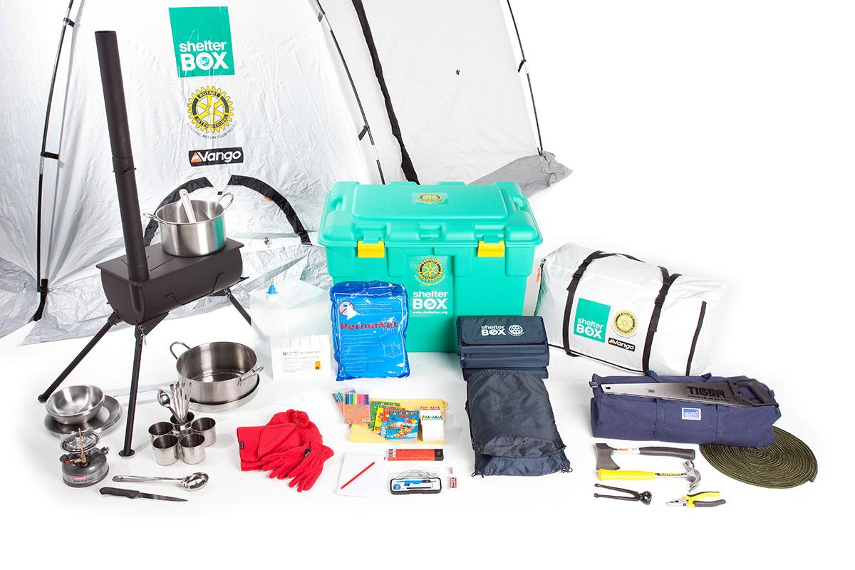 International Activities - A tent and other essential equipment goes into each box