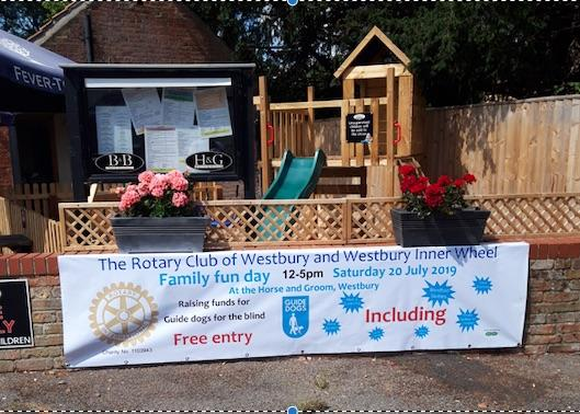 The Rotary Club of Westbury and Westbury Inner wheel Family Fun Day  - We have displayed our banner outside the Horse and Groom, Alfred Street, Westbury.