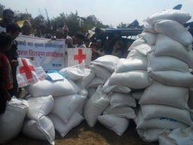 Mirge Nepal Update 4 - Stockpiles of Red Cross food parcels