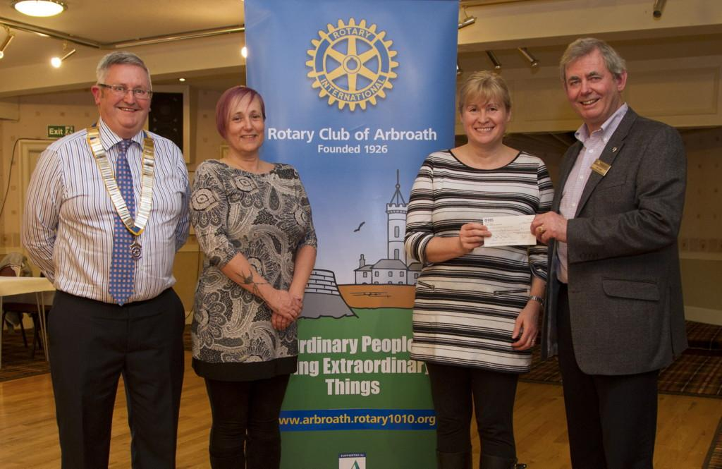 Cheque presentations - Arbroath Rotary presented a cheque for £3,150 to Lynne Clark (L) and Alison Inglis (R) in April 2016. President David Miller is extreme Left and Variety Show Co-ordinator Ian Lamb is extreme Right