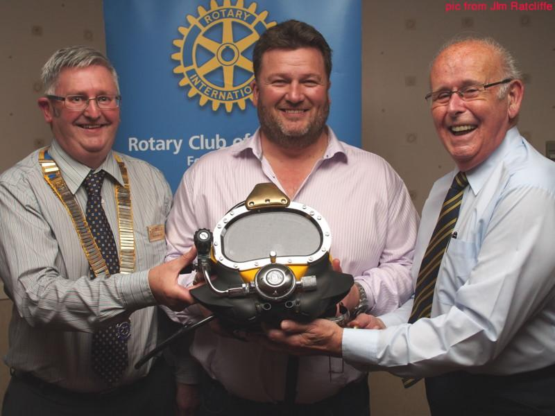 Club Photo Gallery July 2015 to June 2016 - Roddy James Chief Operating Officer of N-Sea was as guest speaker in September 2015. He spoke about the Offshore Activities of N-Sea. Roddy James (Centre) President David Miller (L) and Iain Young