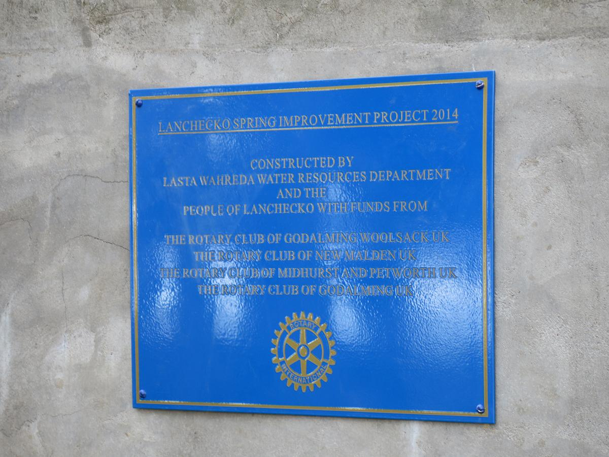 International Service - A Rotary plaque in place