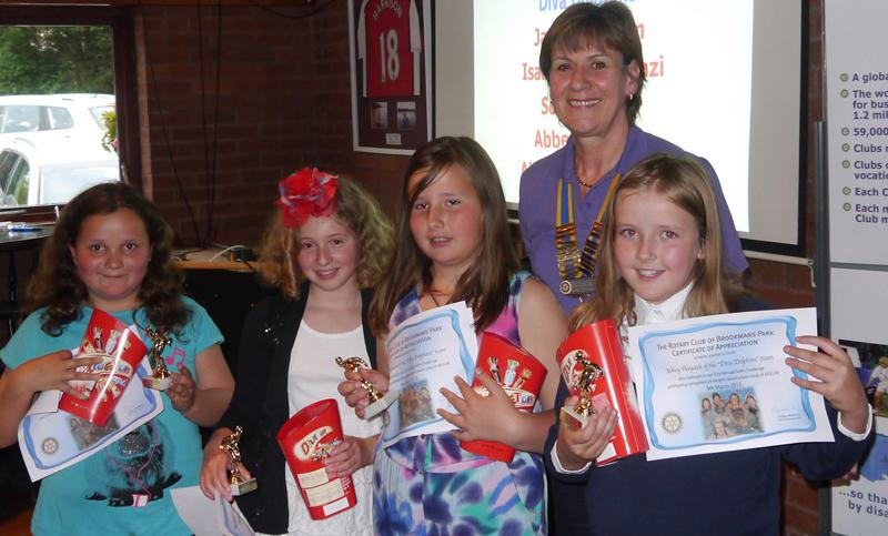 Swim Presentation Evening - Members of the Diva Dolphins team receive certificates and trophies for raising a fantastic £655.