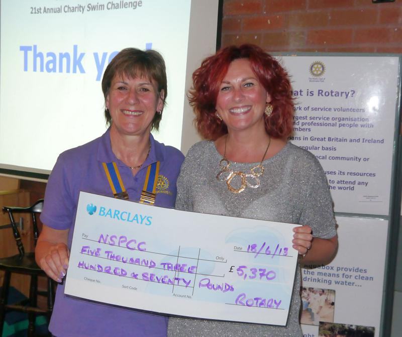 Swim Presentation Evening - Sam Wilkins from the NSPCC receives a cheque	from Rotary president Barbara Middleton