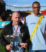 Oct 2012 PRESENTATION of Football Trophies - the Tommy McLafferty Cup - 1Captain Lee Gaskill and last minute goal scorer Dexter Hall