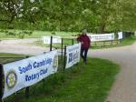 Jun 2013 Kids Out Day at Wimpole Hall and Farm - 1 Sian in the gateway with the 5 club banners