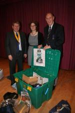 Emergency Boxes - The troop leader (centre)St James Scout Troop and T Powell convenor International committee with Mike Carr(now president)