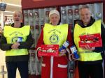 Xmas Tin Rattle at Sainsbury's Fosse Park - President David French with Rotarians Mike Ward & Brian Knight