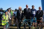 2019 Foulness Bike Ride - MP James Duddridge lined up at the start joined by the mayor of Southend, Chairman of Rochford Council and Thea Higgins