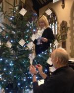 2015-16 Rotary Year - Angie & Rtn Don Adams decorated one of many Xmas Trees jointly with our Mother Club. 100 cards highlighted each of many projects achieved by both Clubs.