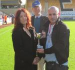 Oct 2012 PRESENTATION of Football Trophies - the Tommy McLafferty Cup - 2Emma Hyde, Mike, Lee Gaskill at the Abbey Stadium