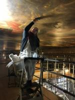 Visit to the Painted Ceiling Greenwich - Restorer at work