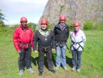 Weston Rotary  Club - Who are we?  - 2015 President Terry with Chain and other members abseiling in Uphill Quarry fr Charity