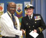 Senlac Classic Car Show and Craft Fayre Cheque Presentation - Alison-Kennedy-of-the-Hastings-Sea-Cadets-accepts-a-donation-from-President-Fitz-Fitzgraham