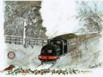 Christmas Cards 2014 - Christmas Card Tanfield Railway painted by Randle Oliver