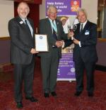 RIBI PR Trophy 2010/2011 - L-R Rotarian Kevin Kneen PHF, District Governor Elect Colin Ince, President Sam Alder. 6 July 2011.