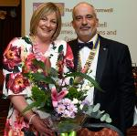 EVENTS IN APRIL 2018 - President Nick presenting flowers to his wife Jennifer in recognition of her outstanding support throughout his term of office.