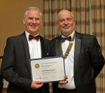 EVENTS IN APRIL 2018 - Rotarian Chris Shannon receiving a Paul Harris Award.